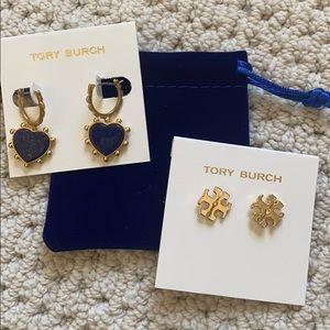 NEW: 2 Tory Burch blue heatdrop earring /Kira stud